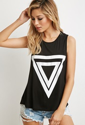 Forever 21 Triangle Print Muscle Tee Black White