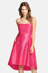Women's Alfred Sung Strapless High Low Dupioni Dress Sangria