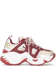 Emporio Armani Panelled Chunky Sneakers Red