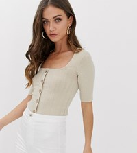 Stradivarius Ribbed Button Front Square Neck Top In Beige