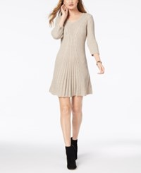Ny Collection Petite V Neck Cable Knit Sweater Dress Lorelle