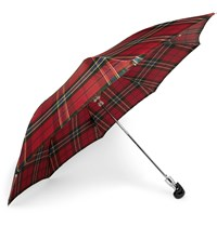 Alexander Mcqueen Checked Skull Handle Umbrella Red