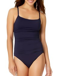Anne Cole Solid Shirred One Piece Blue