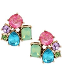 Betsey Johnson Gold Tone Multicolor Crystal Cluster Stud Earrings