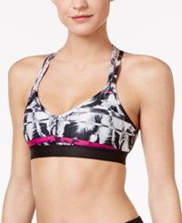Puma Yogini Low Impact Strappy Back Drycell Sports Bra Black Pink Print
