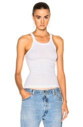Re Done Ribbed Tank Top In White