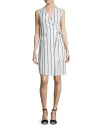 Theory Livwilth Wide Stripe Linen Wrap Style Dress White Blue
