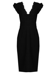Rebecca Taylor Embroidered Crepe Dress Black