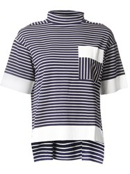 Astraet Striped Contrast Pocket And Wide Sleeve High Neck T Shirt Blue