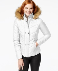 Krush Faux Fur Trim Quilted Coat Winter White