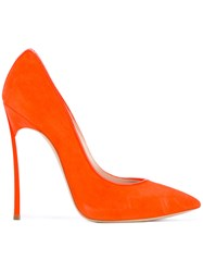 Casadei Pointed Toe Pumps Women Chamois Leather Leather Patent Leather Kid Leather 39.5 Yellow Orange