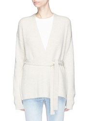 Helmut Lang Belted Side Split Wool Cashmere Cardigan Neutral