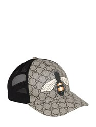 Gucci Bee Coated Gg Canvas And Mesh Baseball Hat