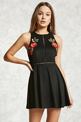 Forever 21 Embroidered Faux Suede Dress Black Red