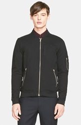 The Kooples French Terry Bomber Jacket Black