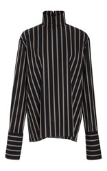 By. Bonnie Young Straight Jacket Striped Blouse Navy