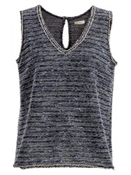 Max Studio Sleeveless Tweedy Top Navy