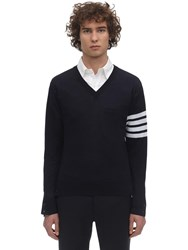 Thom Browne Wool Knit V Neck Sweater Navy
