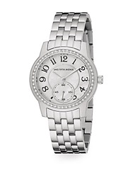Saks Fifth Avenue Mother Of Pearl Pave Crystal And Stainless Steel Watch Silver