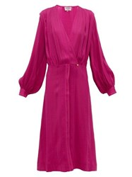 Zeus Dione Rania Silk Blend Crepe Wrap Dress Pink