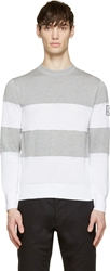Moncler Gamme Bleu Grey And White Open Knit Striped Sweater