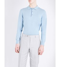 Canali Can Ctn Ls Polo Knit Sky