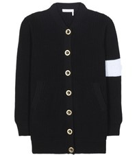 Chloe Knitted Wool Cardigan Black