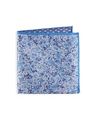 Saks Fifth Avenue Floral And Dot Silk Pocket Square Navy