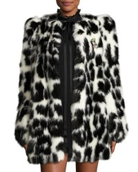 Marc Jacobs Leopard Print Faux Fur Coat Black