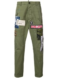 Dsquared2 Logo Patch Chinos Green