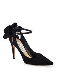 Saks Fifth Avenue Made In Italy Bow Ankle Strap Leather Pumps Black