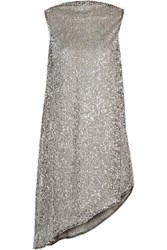 Halpern Draped Sequined Mesh Mini Dress Silver