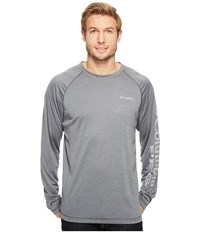Columbia Terminal Tackle Heather Long Sleeve Shirt Charcoal Heather Cool Grey Logo Men's Long Sleeve Pullover Gray