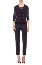 Women's Akris Punto Stripe And Dot V Neck Wool And Cotton Cardigan Indigo Bleached Denim