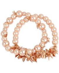 Inc International Concepts M. Haskell For 2 Pc. Set Imitation Pearl And Shaky Leaf Stretch Bracelets Only At Macy's Rose Gold