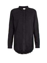 Simon Miller Yava Frayed Hem Cotton Shirt Black