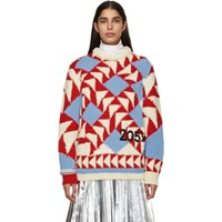 Calvin Klein 205W39nyc Off White And Red Intarsia Jacquard Sweater