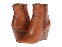 Frye Regina Seam Wedge Cognac Smooth Vintage Leather Cowboy Boots Brown