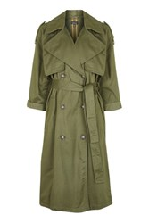 Topshop Embroidered Trench Coat Khaki