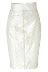 L 'Wren Scott Cream Art Deco Embroidered Silk Pencil Skirt Beige