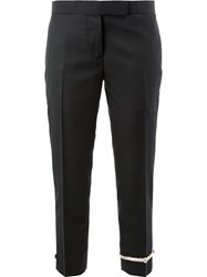 Thom Browne Embroidered Ankle Cropped Trousers Black