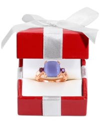 Effy Collection Effy Blue Chalcedony Rhodolite Garnet And Diamond Accent Ring In 14K Rose Gold 4 1 4 Ct. T.W.