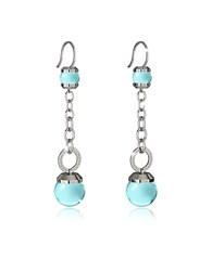Rebecca Hollywood Stone Rhodium Over Bronze Dangle Earring W Turquoise Hydrothermal Stone