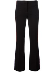 Versace Applique Stripe Flared Trousers Black