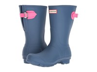 Hunter Original Back Adjustable Short Dark Earth Blue Ion Pink Women's Rain Boots