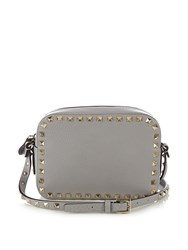 Valentino Rockstud Leather Camera Cross Body Bag Light Grey