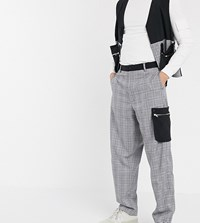 Noak Wide Leg Trousers In Check With Contrast Pockets Grey
