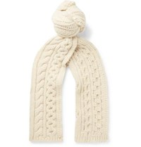 Brioni Cable Knit Camel Hair Scarf Cream