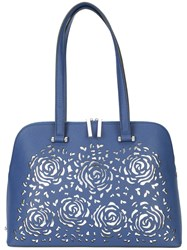 Christian Siriano Floral Cut Out Tote Bag Blue