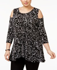 Alfani Plus Size Cold Shoulder Tunic Top Only At Macy's Black Falling Speckle